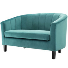 Prospect Channel Tufted Upholstered Velvet Loveseat, Velvet Fabric, Aqua Blue 15053