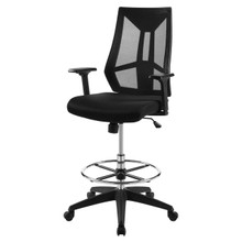 Extol Mesh Drafting Chair, Fabric, Black 15063