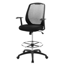 Intrepid Mesh Drafting Chair, Fabric, Black 15064