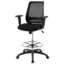 Forge Mesh Drafting Chair, Fabric, Black 15066