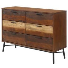 Arwen Rustic Wood Dresser, Metal Steel Wood, Brown 15099