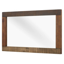 Arwen Rustic Wood Frame Mirror, Metal Steel Wood, Brown 15100