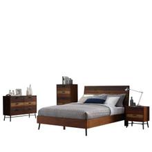 Arwen 5 Piece Queen Bed Night Stand Mirror Dresser Chest Bedroom Set, Queen Size, Metal Steel Wood, Brown, 15111