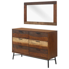 Arwen 2 Piece Mirror and Chest Bedroom Set, , Metal Steel Wood, Brown, 15112