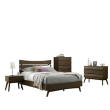 Everly 5 Piece Queen Bed Night Stand Mirror Dresser Chest Bedroom Set, Queen Size, Wood, Brown, 15113