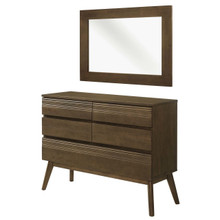 Everly 2 Piece Mirror and Chest Bedroom Set, , Wood, Brown, 15114