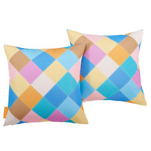 Modway Two Piece Outdoor Patio Pillow Set, Fabric, Multi Color 15120