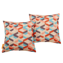 Modway Two Piece Outdoor Patio Pillow Set, Fabric, Multi Colorful 15122