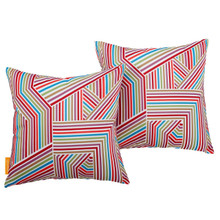 Modway Two Piece Outdoor Patio Pillow Set, Fabric, Multi Colorful 15125