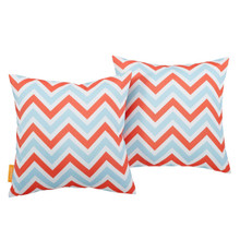 Modway Two Piece Outdoor Patio Pillow Set, Fabric, Multi Colorful 15127