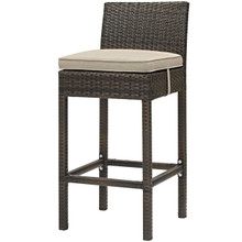 Conduit Outdoor Patio Wicker Rattan Bar Stool, Rattan Wicker, Brown Beige 15129
