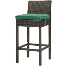 Conduit Outdoor Patio Wicker Rattan Bar Stool, Rattan Wicker, Green Brown 15132