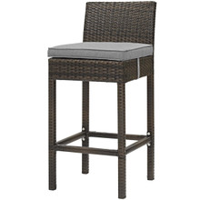 Conduit Outdoor Patio Wicker Rattan Bar Stool, Rattan Wicker, Grey Gray Brown 15133