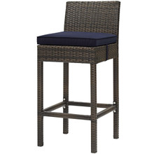 Conduit Outdoor Patio Wicker Rattan Bar Stool, Rattan Wicker, Navy Blue Brown 15135