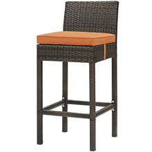 Conduit Outdoor Patio Wicker Rattan Bar Stool, Rattan Wicker, Orange Brown 15136