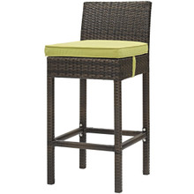 Conduit Outdoor Patio Wicker Rattan Bar Stool, Rattan Wicker, Green Brown 15137