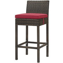 Conduit Outdoor Patio Wicker Rattan Bar Stool, Rattan Wicker, Red Brown 15138