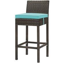 Conduit Outdoor Patio Wicker Rattan Bar Stool, Rattan Wicker, Blue Brown 15139