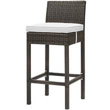Conduit Outdoor Patio Wicker Rattan Bar Stool, Rattan Wicker, White Brown 15140