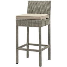 Conduit Outdoor Patio Wicker Rattan Bar Stool, Rattan Wicker, Light Gray Beige 15141