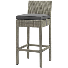 Conduit Outdoor Patio Wicker Rattan Bar Stool, Rattan Wicker, Dark Grey Gray 15142