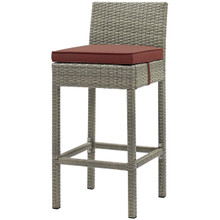 Conduit Outdoor Patio Wicker Rattan Bar Stool, Rattan Wicker, Red Gray 15143