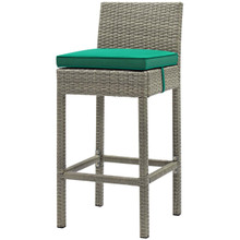 Conduit Outdoor Patio Wicker Rattan Bar Stool, Rattan Wicker, Green Light Gray 15144