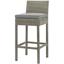 Conduit Outdoor Patio Wicker Rattan Bar Stool, Rattan Wicker, Grey Gray 15145