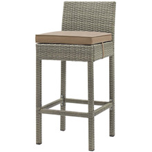 Conduit Outdoor Patio Wicker Rattan Bar Stool, Rattan Wicker, Brown Light Gray 15146