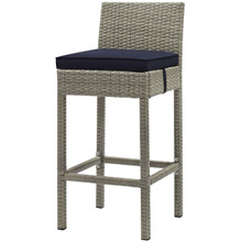 Conduit Outdoor Patio Wicker Rattan Bar Stool, Rattan Wicker, Navy Blue Light Gray 15147