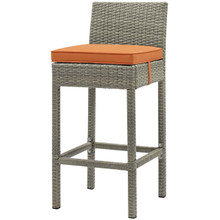 Conduit Outdoor Patio Wicker Rattan Bar Stool, Rattan Wicker, Orange Light Gray 15148