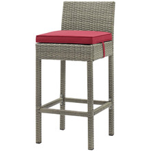 Conduit Outdoor Patio Wicker Rattan Bar Stool, Rattan Wicker, Red Light Gray 15150