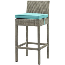 Conduit Outdoor Patio Wicker Rattan Bar Stool, Rattan Wicker, Blue Light Gray 15151