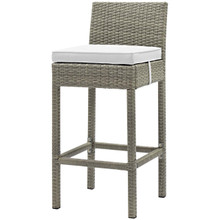 Conduit Outdoor Patio Wicker Rattan Bar Stool, Rattan Wicker, White Light Gray 15152