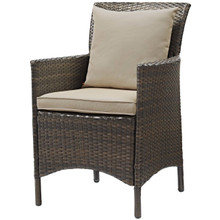 Conduit Outdoor Patio Wicker Rattan Dining Armchair, Rattan Wicker, Brown Beige 15153