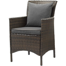 Conduit Outdoor Patio Wicker Rattan Dining Armchair, Rattan Wicker, Grey Gray Brown 15154