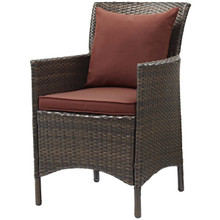 Conduit Outdoor Patio Wicker Rattan Dining Armchair, Rattan Wicker, Red Brown 15155