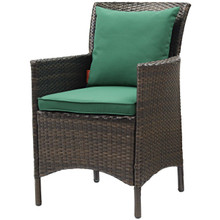 Conduit Outdoor Patio Wicker Rattan Dining Armchair, Rattan Wicker, Green Brown 15156
