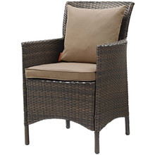 Conduit Outdoor Patio Wicker Rattan Dining Armchair, Rattan Wicker, Brown 15158