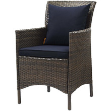 Conduit Outdoor Patio Wicker Rattan Dining Armchair, Rattan Wicker, Navy Blue Brown 15159