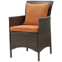 Conduit Outdoor Patio Wicker Rattan Dining Armchair, Rattan Wicker, Orange Brown 15160