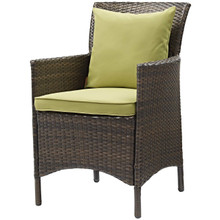 Conduit Outdoor Patio Wicker Rattan Dining Armchair, Rattan Wicker, Green Brown 15161