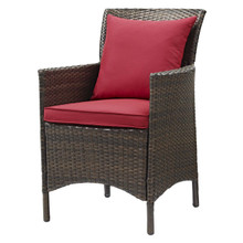 Conduit Outdoor Patio Wicker Rattan Dining Armchair, Rattan Wicker, Red Brown 15162