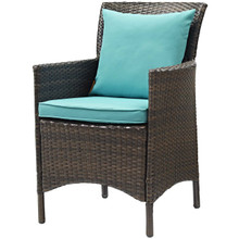 Conduit Outdoor Patio Wicker Rattan Dining Armchair, Rattan Wicker, Blue Brown 15163