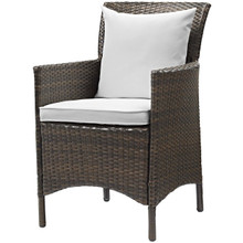 Conduit Outdoor Patio Wicker Rattan Dining Armchair, Rattan Wicker, White Brown 15164