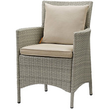 Conduit Outdoor Patio Wicker Rattan Dining Armchair, Rattan Wicker, Light Gray Beige 15165