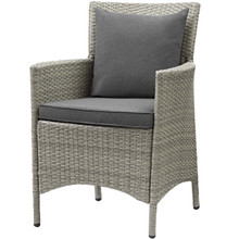 Conduit Outdoor Patio Wicker Rattan Dining Armchair, Rattan Wicker, Dark Grey Gray 15166