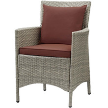 Conduit Outdoor Patio Wicker Rattan Dining Armchair, Rattan Wicker, Dark Grey Gray 15167