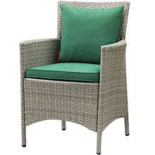 Conduit Outdoor Patio Wicker Rattan Dining Armchair, Rattan Wicker, Green Light Gray 15168
