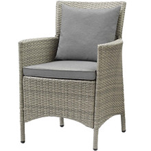 Conduit Outdoor Patio Wicker Rattan Dining Armchair, Rattan Wicker, Grey Gray 15169